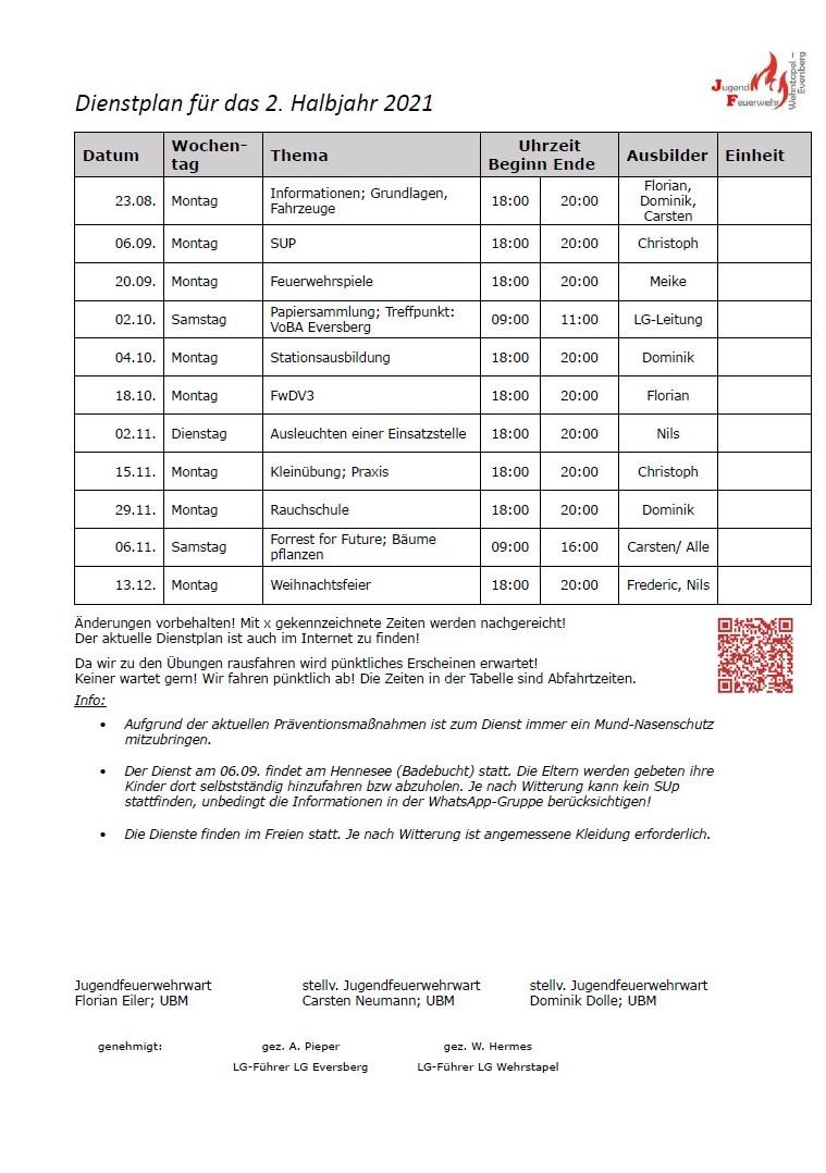 Aktueller Dienstplan