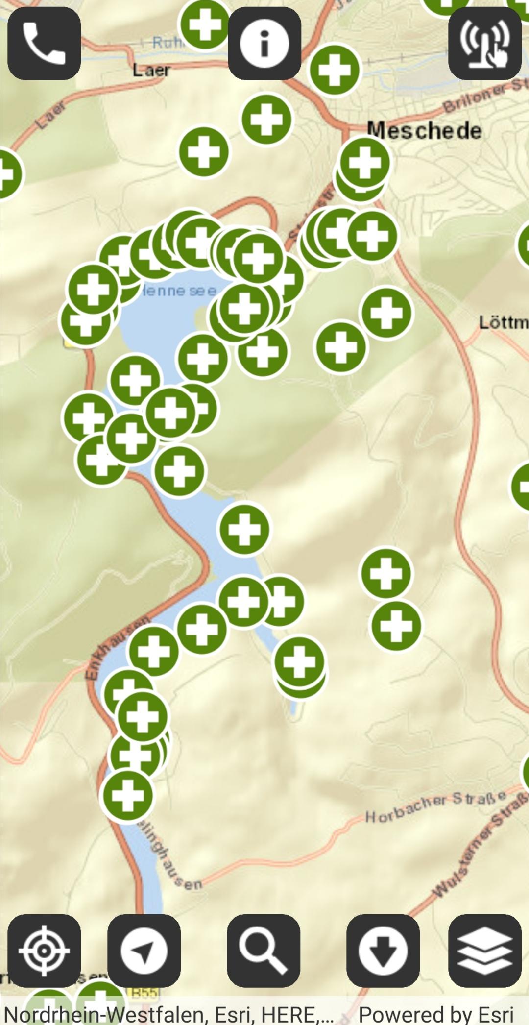 App 'Hilfe im Wald' / Rettungspunkte rund um den Hennesee