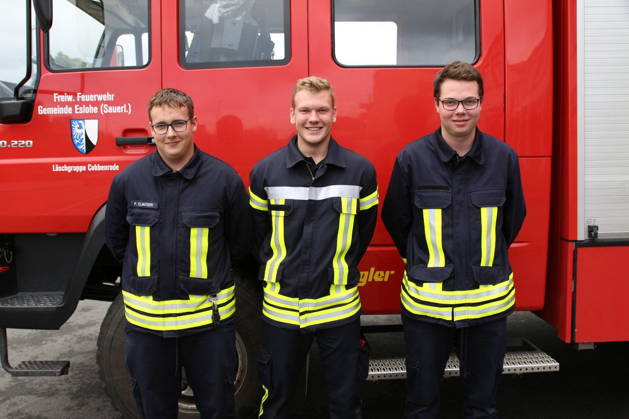 v.l.n.r. Fabian Clausen - LG Cobbenrode; Markus Schmidt - LZ Meschede – Lehrgangsbester; Josef Osbold - LG Reiste