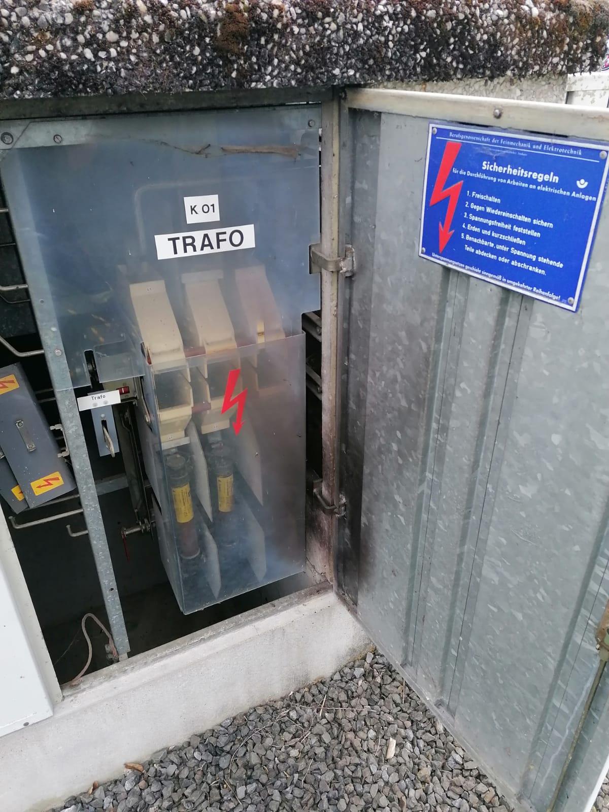 Brandspuren in 10 kV Trafostation